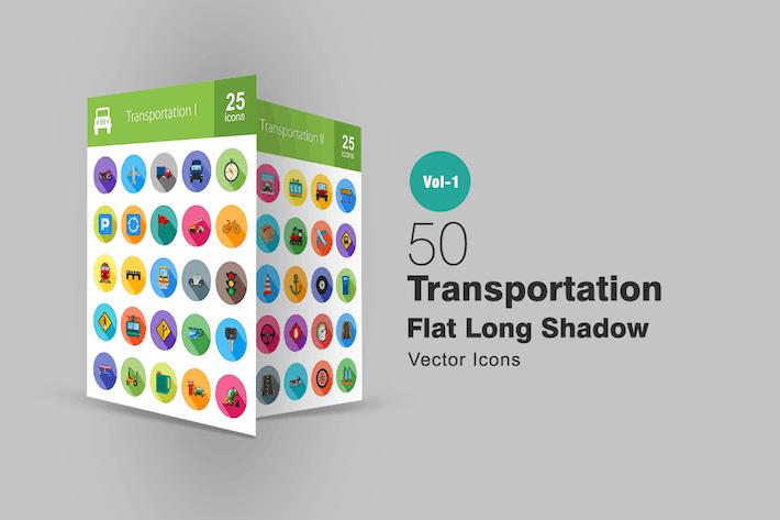 Thumbnail for 50 Transport Flache lange Schatten Icons