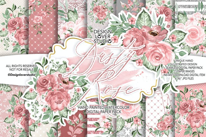 Thumbnail for Dusty Rose digital paper pack