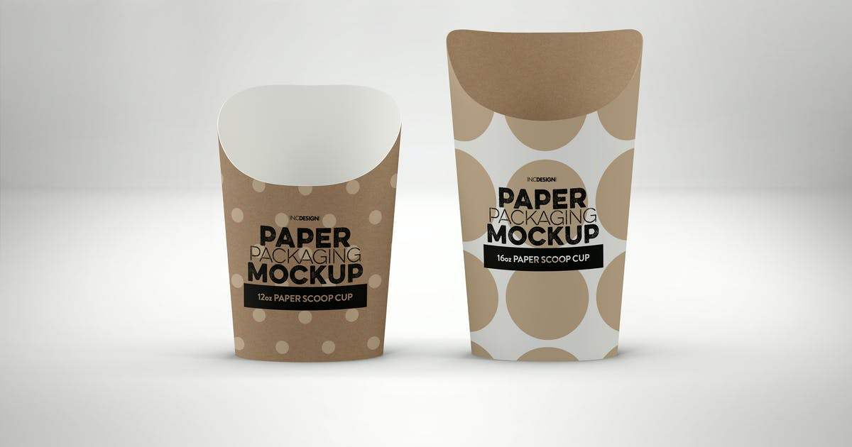 Download Paper Scoop Cups Packaging Mockup by ina717