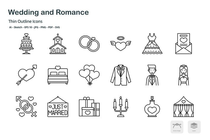 Thumbnail for Wedding and romance thin outline icons