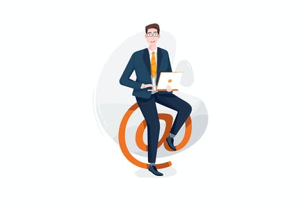 Businessman sitting on the @ symbol with laptop