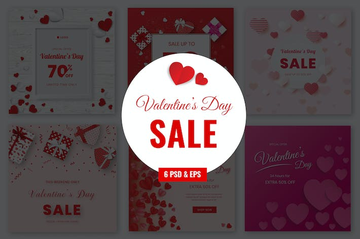 Thumbnail for Valentines Sale Banner Template