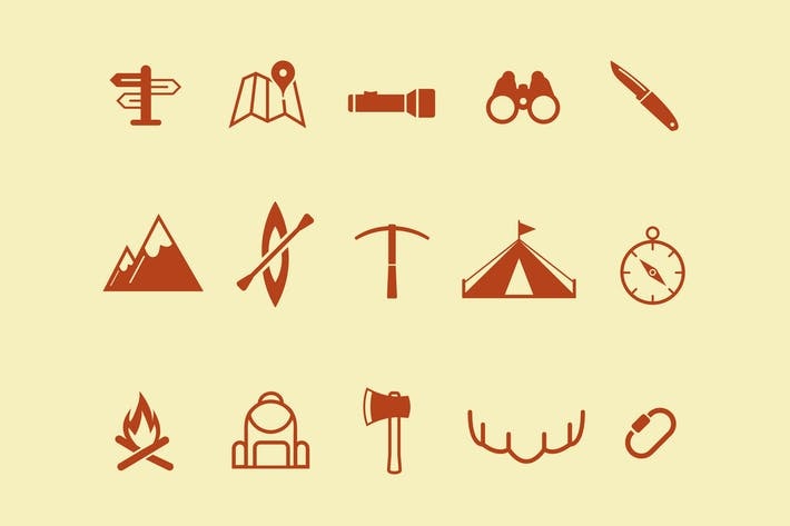 Thumbnail for 15 Outdoor Adventure Icons