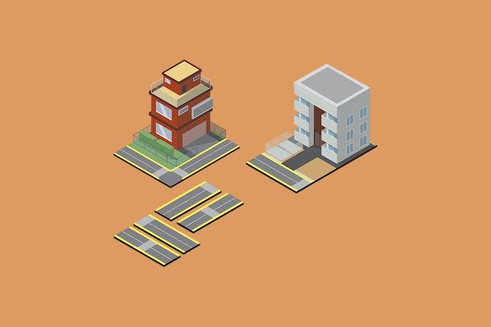 Набор изометрических офисных зданий - Объект GS