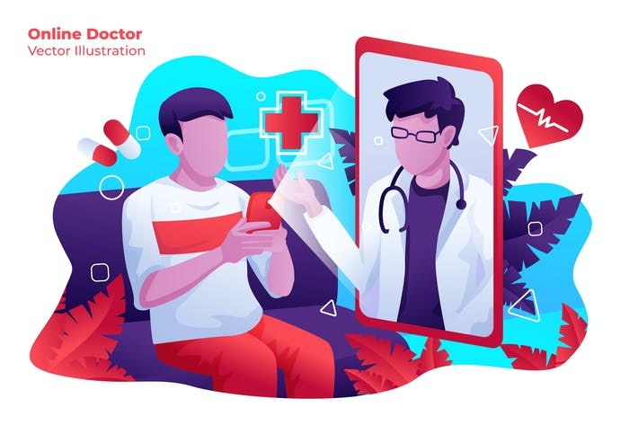 Thumbnail for Online Doctor - Vector Illustration