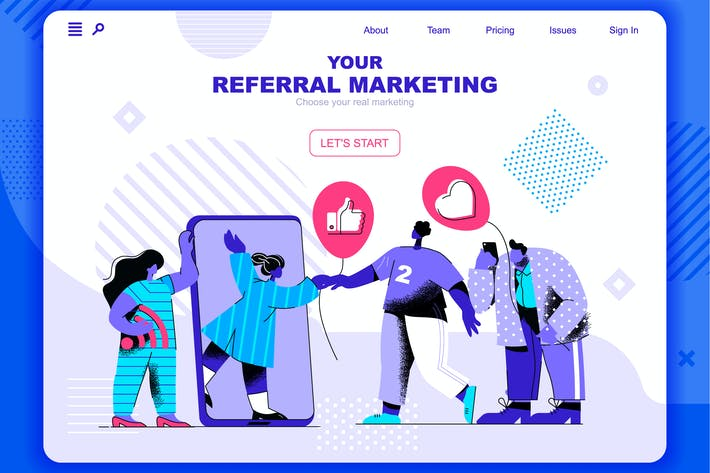 Thumbnail for Referral Marketing Flat Landing Page Header