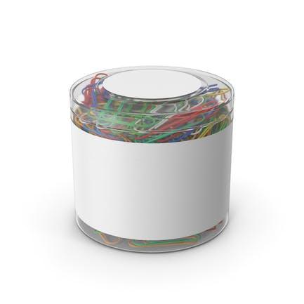 Clips de papel en vaso de plástico