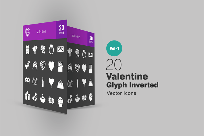 Thumbnail for 20 Valentine Glyph Inverted Icons