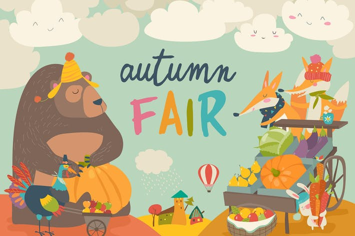 Thumbnail for Cute animals on autumn fair. Vector illustrations