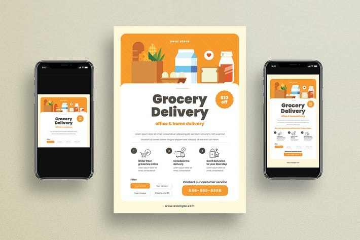 Cover Image For Grocery Delivery Flyer + Social Media