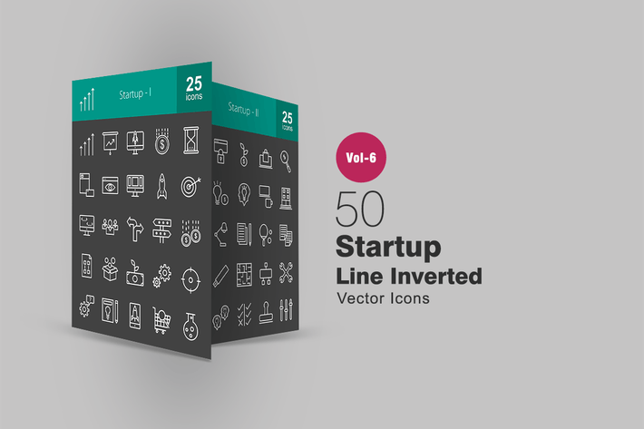 Thumbnail for 50 Startup Line Inverted Icons