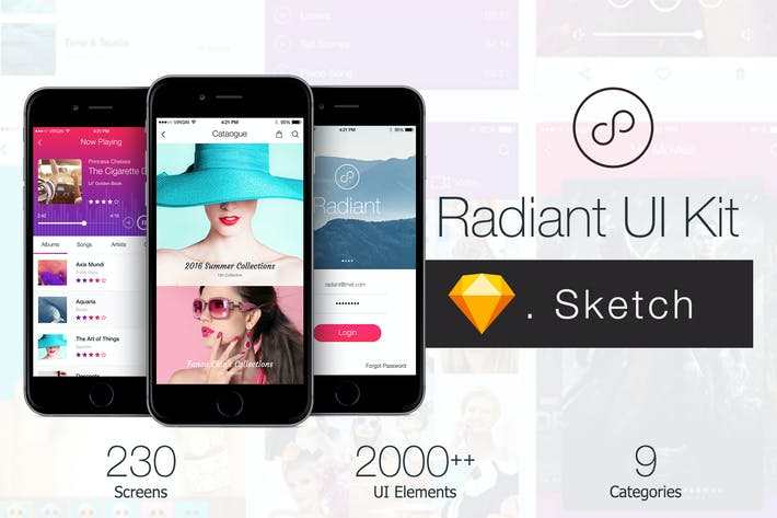 Thumbnail for Radiant Mobile UI Kit - 200+ for Sketch
