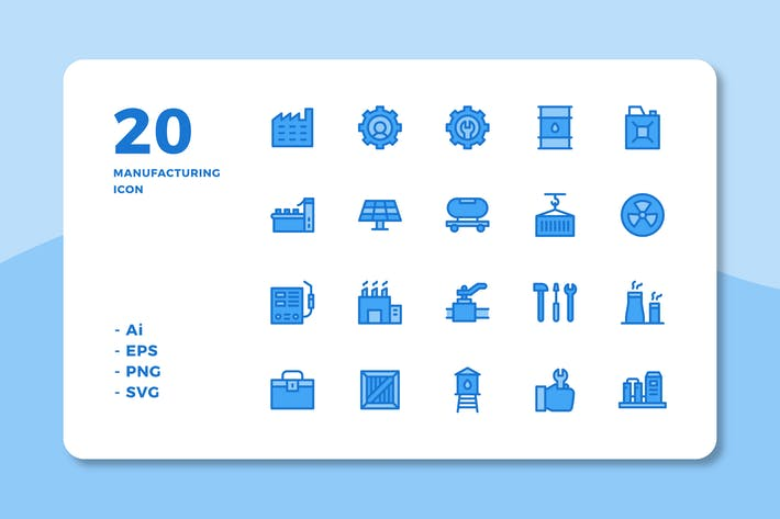 Thumbnail for 20 Manufacturing Icons (Lineal Color)