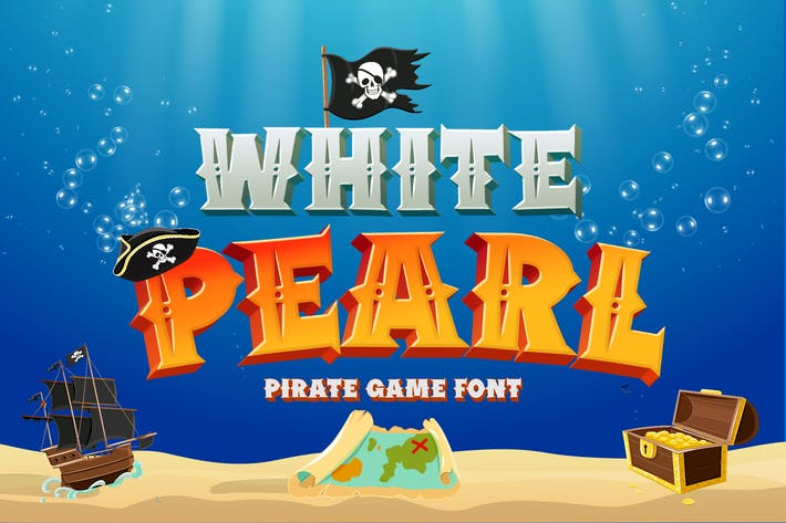 Thumbnail for White Pearl - Pirate game font
