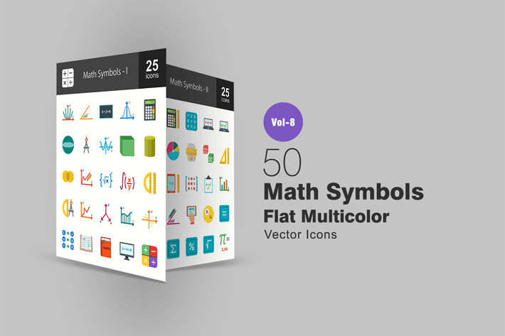 Thumbnail for 50 Math Symbols Flat Multicolor  Icons
