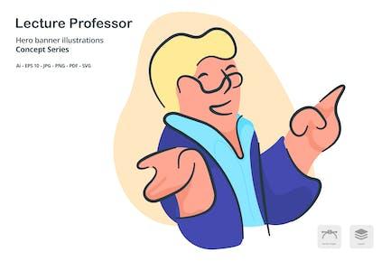 Vorlesung Professor Vektor illustration