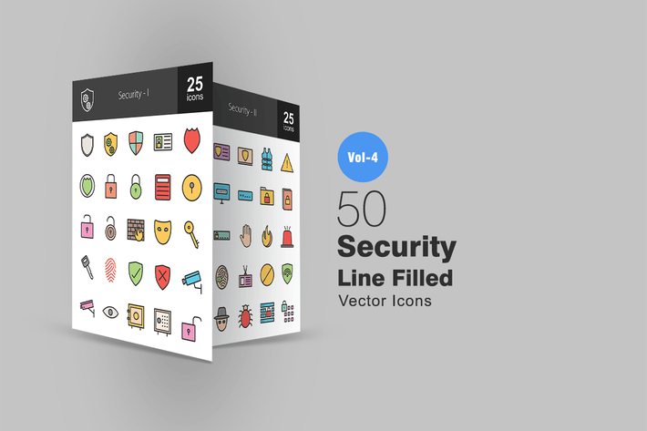 Thumbnail for 50 Security Line Filled Icons