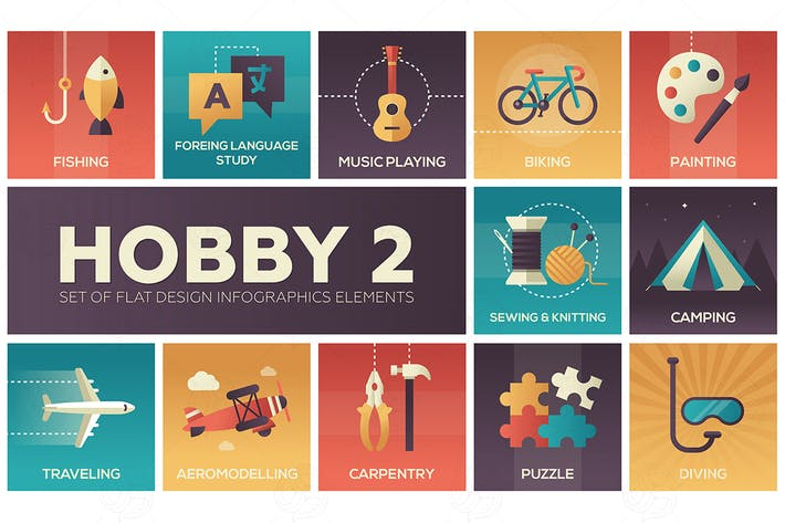 Thumbnail for Hobby - set of flat design infographics elements