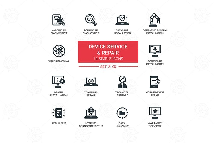 Thumbnail for Device service & repair - vector icons set