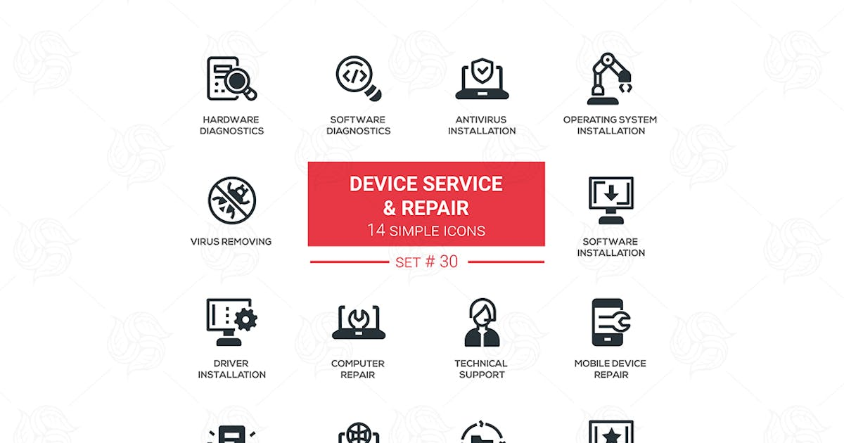 Download Device service & repair - vector icons set by BoykoPictures