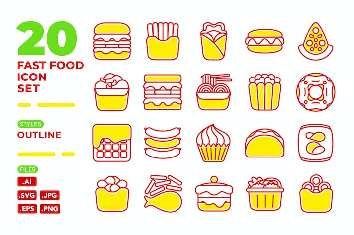 Thumbnail for Fast Food Icon Set (Outline)