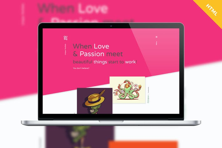 Thumbnail for Qusq HTML - Colorful Unique Portfolio