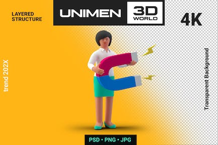 Businesswoman 3D Standing with Magnet