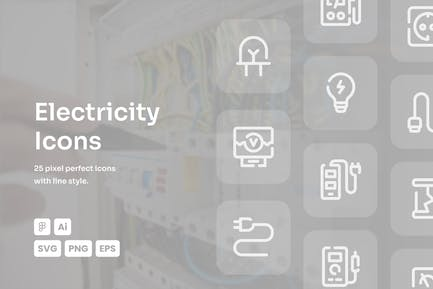 Electricity Dashed Line Icons