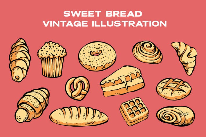 Sweet Bread Vintage Illustration