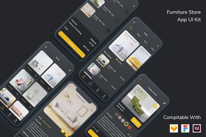 Thumbnail for Furniture Store App UI Kit Dark Mode