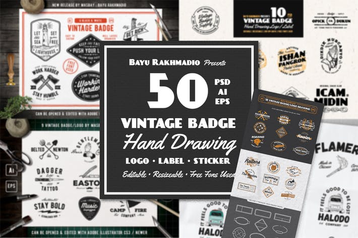 Thumbnail for 50 Vintage Badges Bundle