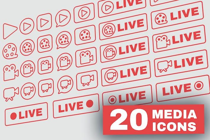 Thumbnail for Outline Live Stream Symbols Set