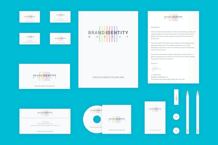Thumbnail for Branding Identity Set: Colored Lines v2 for Sketch