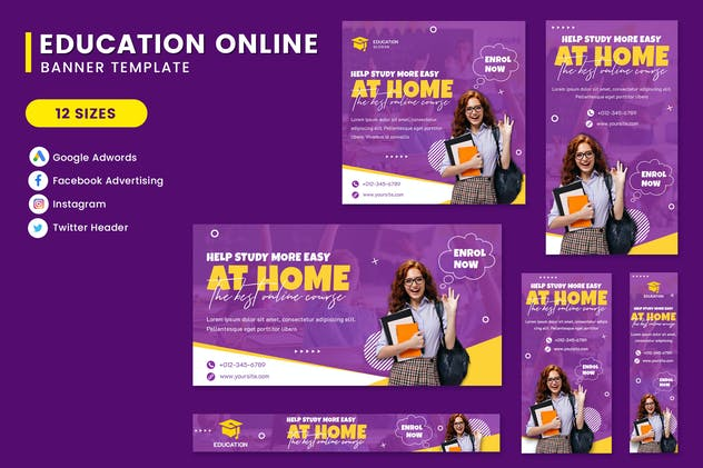 Online Education Banner Set Template