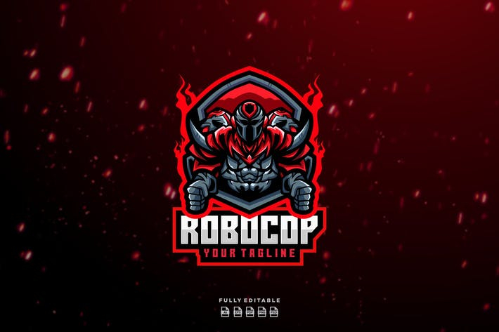 Robot Robotic Red Esport Logo
