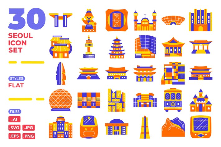 Thumbnail for Seoul Icon Set (flat)