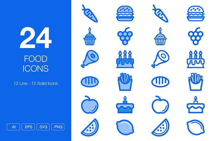 Thumbnail for 24 Food Icons - Line & Solid