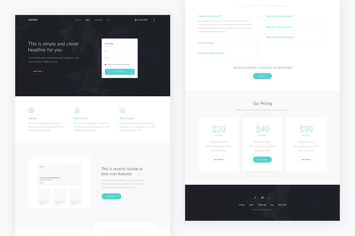 Thumbnail for Oneland — Corporate Landing Page PSD Template