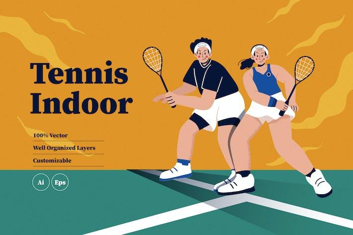 Tennis Indoor Illustration