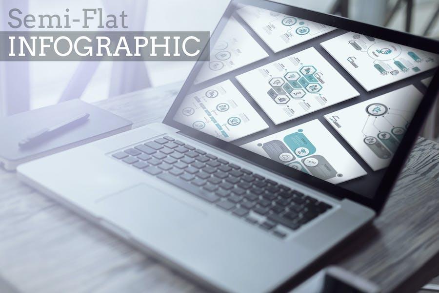 32 Semi-Flat Infographics