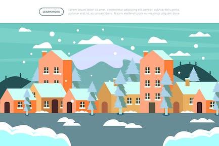 Village - Ilustración de invierno