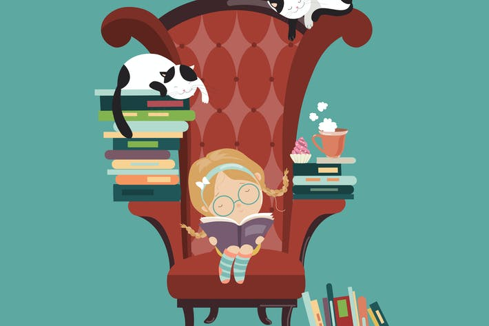 Thumbnail for Little girl reading a book. Vector