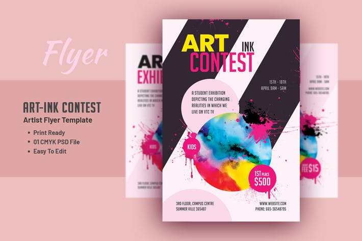Thumbnail for Art-Ink Contest - Artist Flyer Template