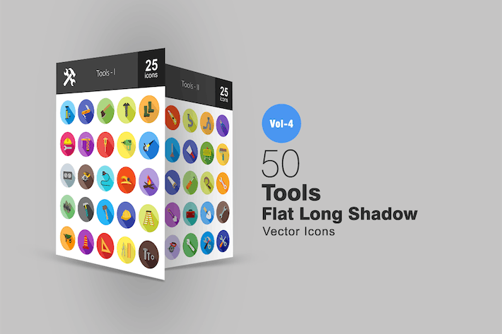 Thumbnail for 50 Tools Flat Shadowed Icons