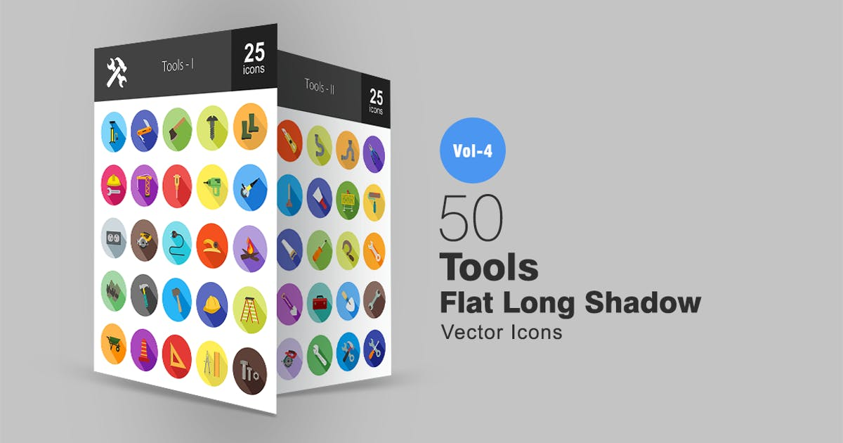 Download 50 Tools Flat Shadowed Icons by IconBunny