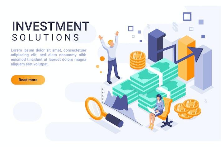 Thumbnail for Инвестиционный изометрический заголовок плоской концепции