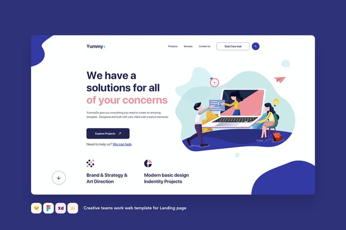 Creative teams work web template for Landing page