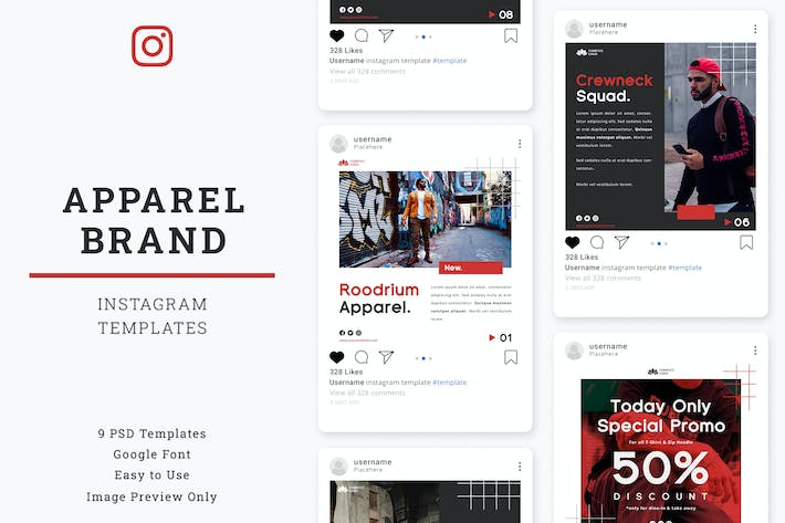Thumbnail for Apparel Brand Instagram Post Template