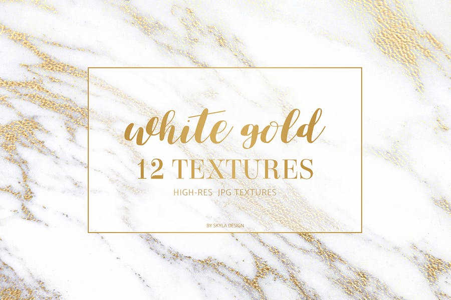 White gold marble texture pattern background