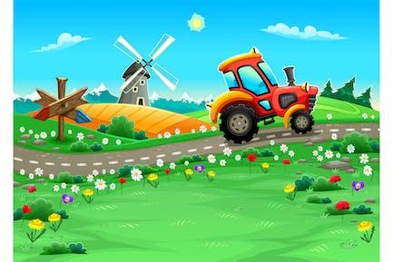 Landschaft mit Traktor auf der Straße